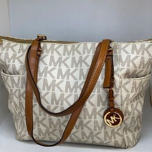 MICHAEL KORS Cream Signature Tote Bag